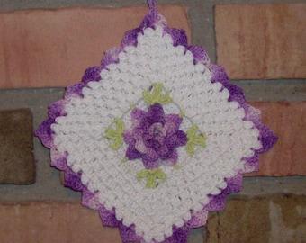 Fancy Flower Crocheted Pot Holder