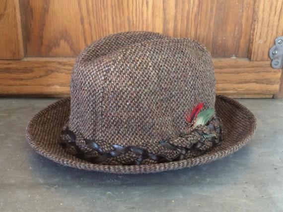 1970s Wool Brown Tweed Men's Fedora Hat by Stetson - image 1