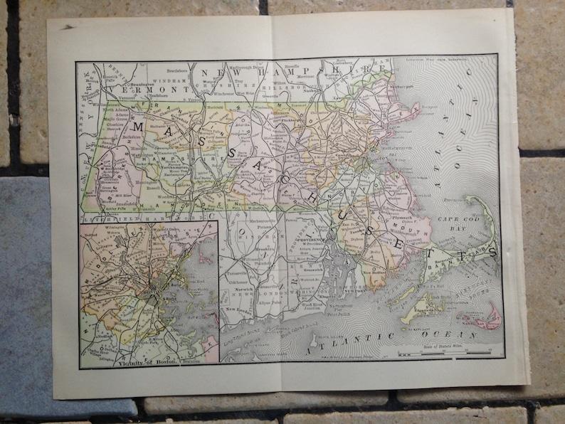 1890 Political Map of Massachusetts Antique Illustration