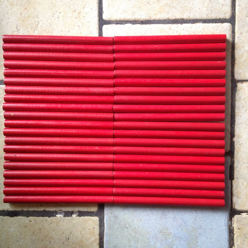 40 Red Wooden Dowels