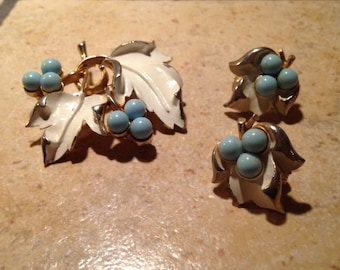 White Leaves with Blue Berries Brooch and Earring Set by Sarah Coventry