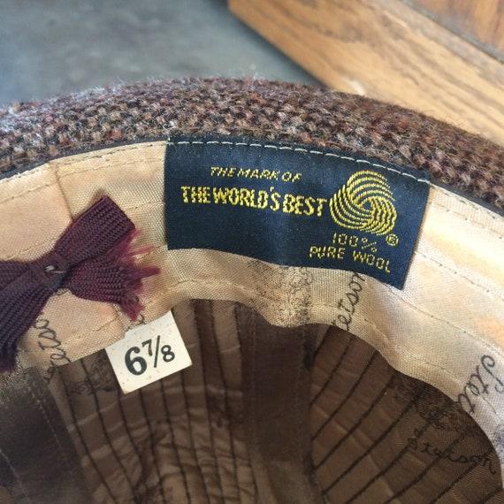 1970s Wool Brown Tweed Men's Fedora Hat by Stetson - image 6