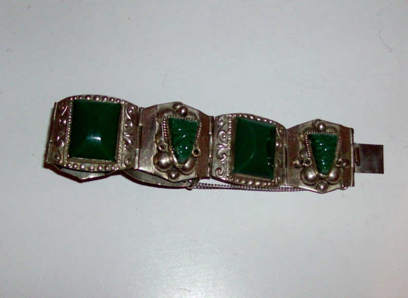 Code v Sterling Silver Mexican Jade Bracelet by Taxco