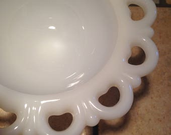Small Milk Glass Footed Dish With Lacy Edge