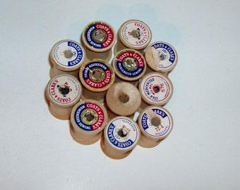 12 Empty Wooden Spools