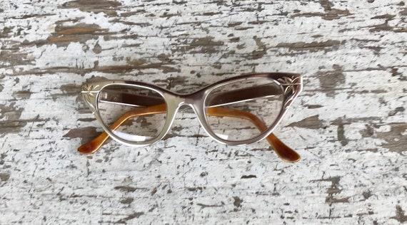 Eye Glasses, Vintage, Aluminum Frame, Cat Eye