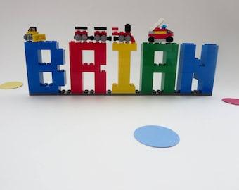Kids Name Sign - Kids Room Decor Made of Lego® Elements - Bricks Name Letters Shelf Decor - Birthday Decor