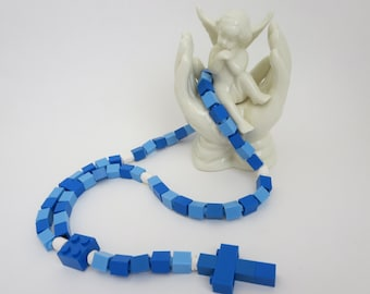 Rosary Made With Lego® Bricks - Blue, Light Blue and White Lego Bricks Rosary - Boy First Communion Gift