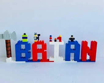 Kids Room Decor Made of Lego® Elements - Blue, Red & White Lego® Bricks Letters Super Heroes Theme - Birthday Party Decor