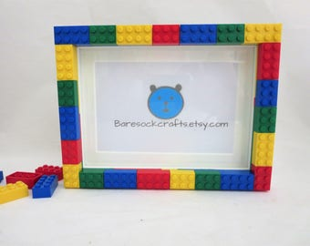 Picture Frames -  5x7 Photo Frame Made of  Lego Bricks in Primary Colors - Multi Colored Bricks Picture Frame - Kids Room Decor