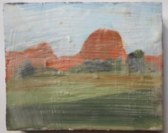 Outside Taos - Miniature Encaustic Painting