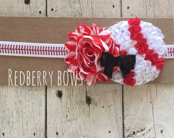 BASEBALL with FLOWER and BOW Headband on Baseball Stitch Elastic