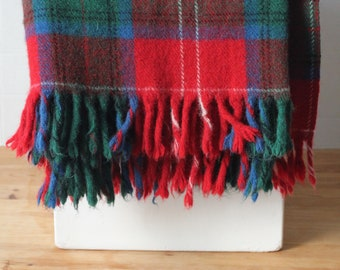 Red Green Blue Plaid Tartan all Wool Blanket Throw with fringe Rustic Sturdy Cabin Camp Cottage Stadium Fringed