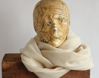 Vintage Shawl Scarf by Jaeger 100% Finest Wool beige off white ivory natural neutral made in Great Britain