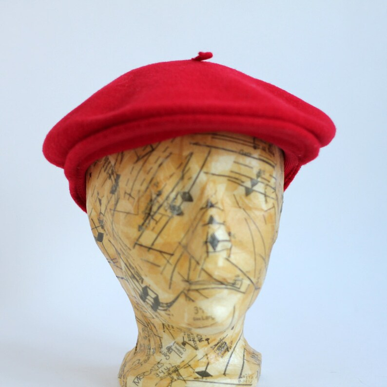 454812bbe6998 Bright Red Wool Kangol Newsboy Indie Hat Cap Beret Modelaine