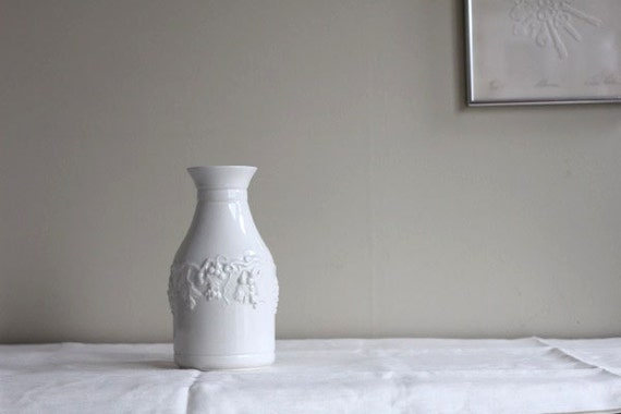 Ceramic White Decanter Vase Vine Wine Sadler England Grapes Etsy