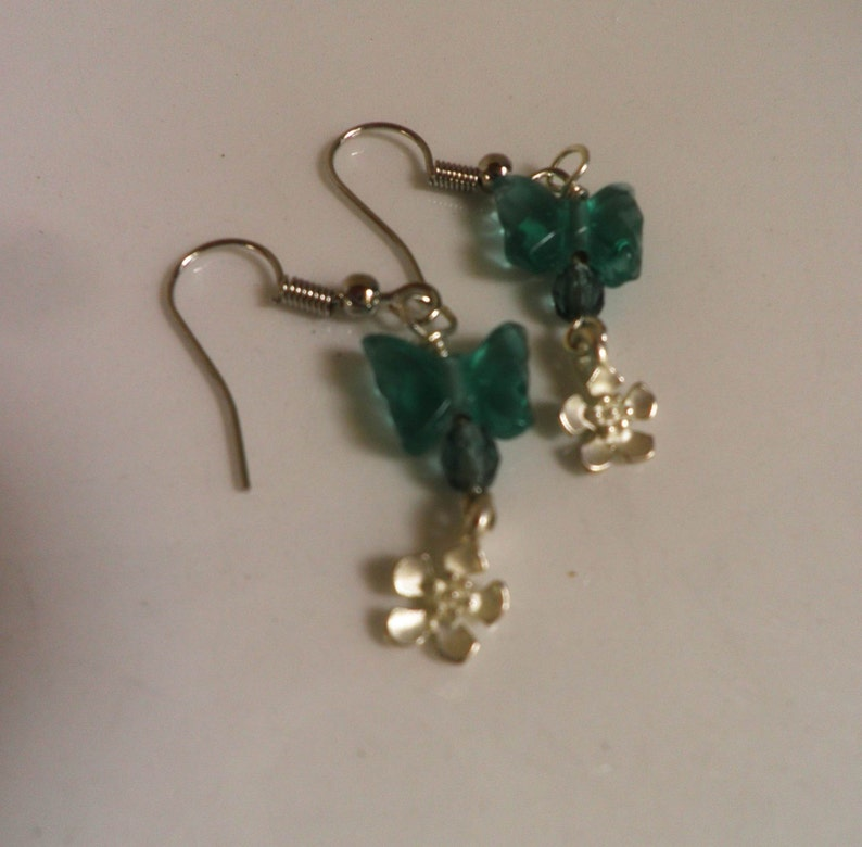 pierced Tiny Butterfly and Posie Earrings glass and silver
