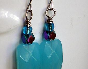 Robin's egg BLUE Earrings, faceted glass