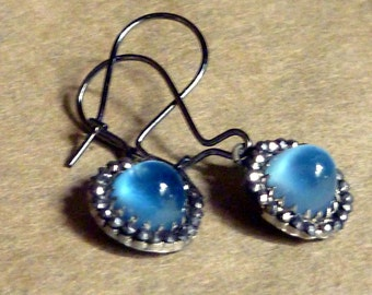 Vintage Marquisette and Sky Blue glass cabochon EARRINGS, wedding Something Blue