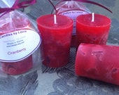 6 Large Cranberry scented votives