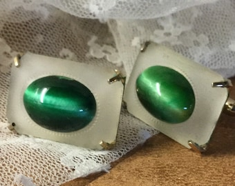 Signed Swank Malachite Frosted Glass Men's Cuff Links 1980's 1990's