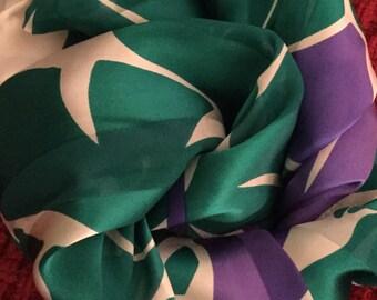 Fresh 1980's Tagged Ginnie Johansen Flower Patterened Oblong Silk Scarf Rolled Edge PUrple White Shades of Green Head Neck Scarf Feminine