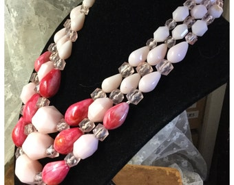 Signed Western Germany Pink Sherbet Three Strand Lucite Bead Necklace Faceted Light Pink Fuchsia Pebble Like Multi Strand
