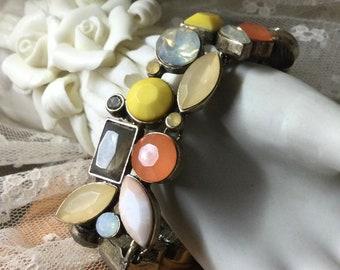 Signed Loft Autumn Hued Rhinestone Gold Tone Link Bracelet 1990's Toggle Clasp