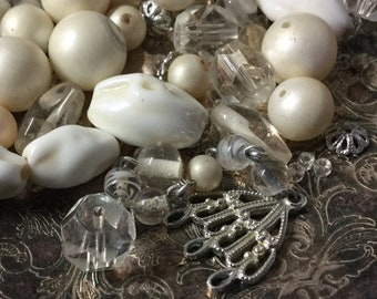 Lot of 40 Plus Milk Glass White Clear Lucite Vintage Beads 1950's 1960's Dimpled Rock Shaped Faceted Round Shaped Broken Necklace Harp Hook