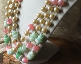 Very Very Long Pastel Hued Fancy Glass Round Lucite Bead Necklace Unsigned 1960's 1970's Flapper Length