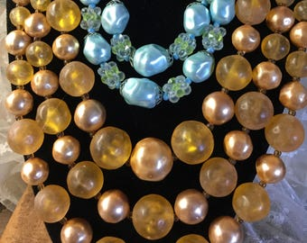 Lot Two Broken Vintage 1950's Lucite Bead Multi Strand Necklaces Unsigned Aqua Gold For Wear or Beading Stringing Projects Reuse Repurposing