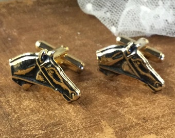 Gold Tone Horse Head Cufflinks Unsigned 1950's 1960's Thoroughbred Horses Racing Equestrian Riding Horsey Set Single Horse Head Stable Ranch