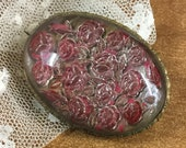 Victorian Brooch Pin Roses Under Lucite Reverse Intaglio Pink Silver