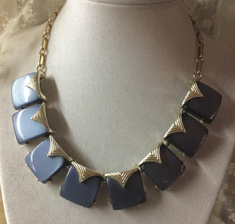 Signed Coro Pegasus Steel Blue Thermoset Gold Tone Link Choker Necklace 1950\u2019s