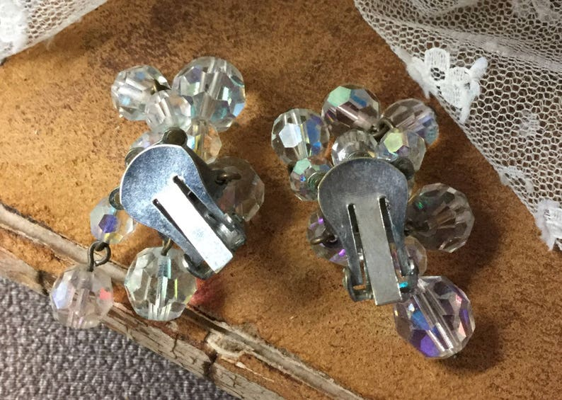 AB Clear Crystal Bead Dangling Earrings Unsigned Clip On