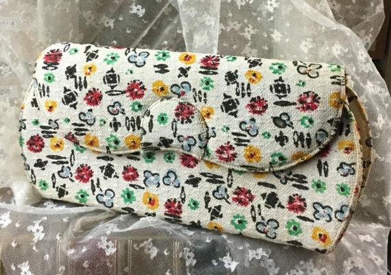 Signed Henry Green Fabric Clutch Purse Handbag 194
