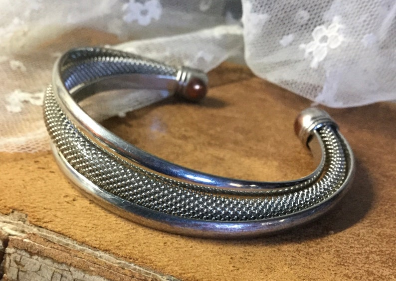 Mesh Solid Silver Tone Metal Cuff Bracelet Adjustable Unsigned 1970\u2019\u2019s 1980\u2019s