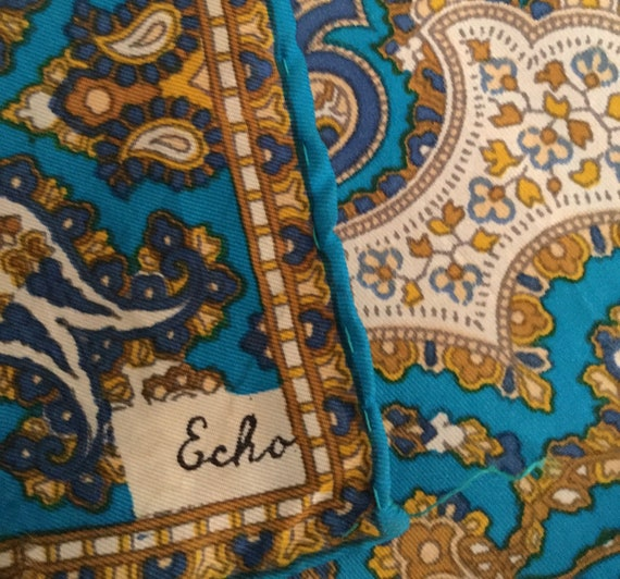 Signed Echo Blue White Brown Paisley Patterned Wom
