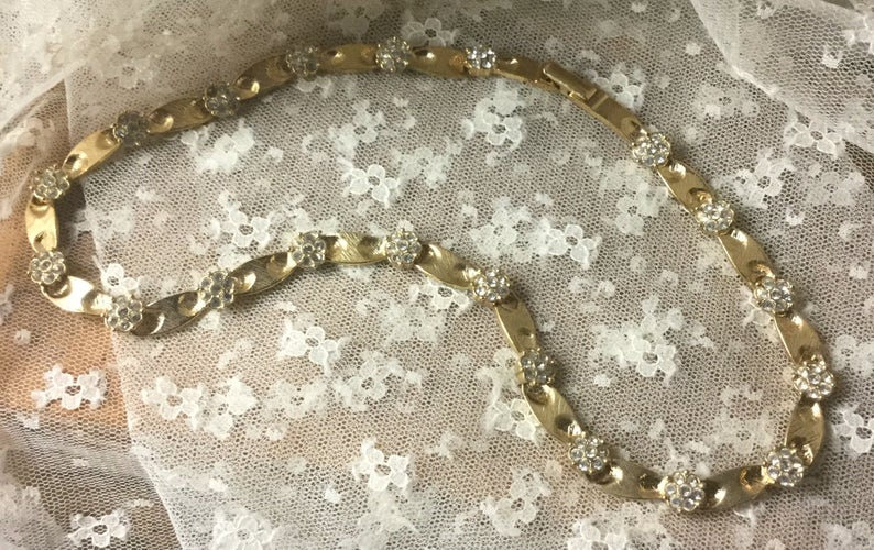 Signed Butler Clear Rhinestone Gold Tone Flower Choker Necklace