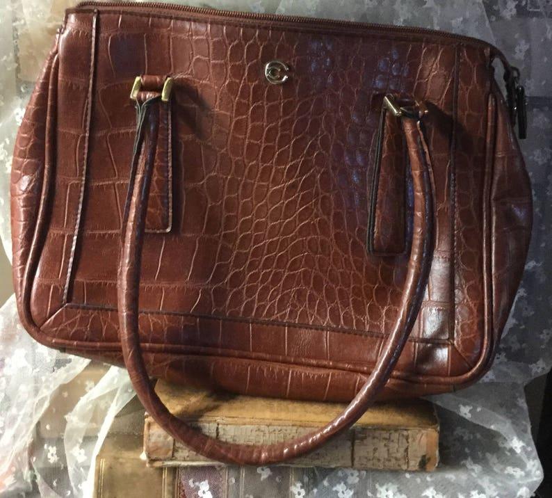 76adc83c4e Cornell Creations Medium Brown Faux Leather Handbag Purse