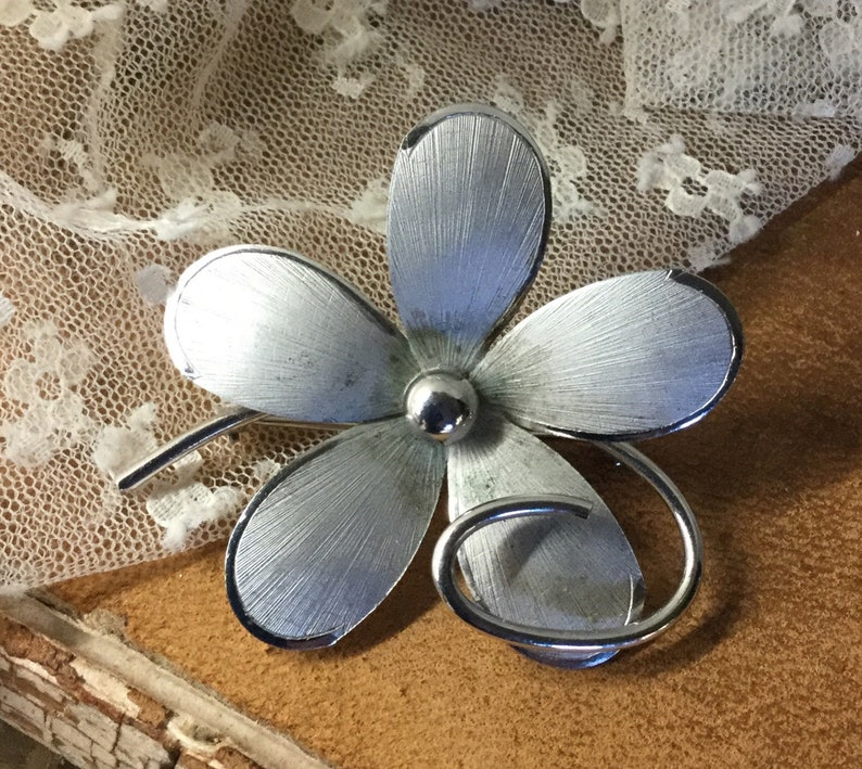 Signed Bond Boyd Sterling Flower Brooch Pin Circa 1950\u2019s 1960\u2019s
