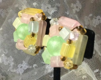 Signed WGermany Lemonade Hued Lucite Clustered Bead Earrings Clip On 1950's