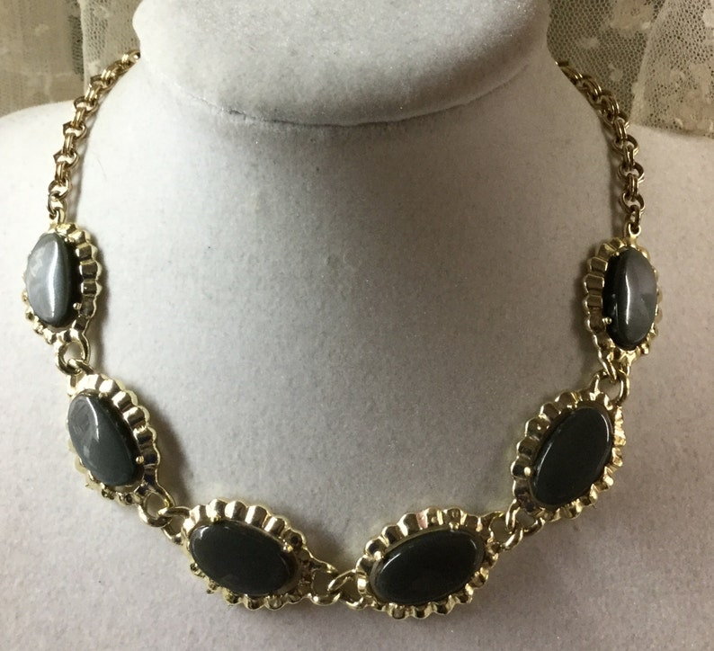 Signed Coro Black Gray Thermoset Choker Necklace 1950\u2019s