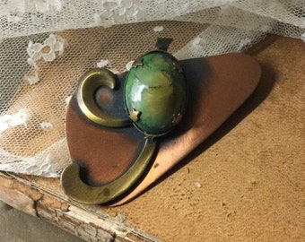 Earthy Slightly Abstract Copper Glass/Stone Cabochon Modernist Brooch Pin Unsigned 1960's 1970's 0001