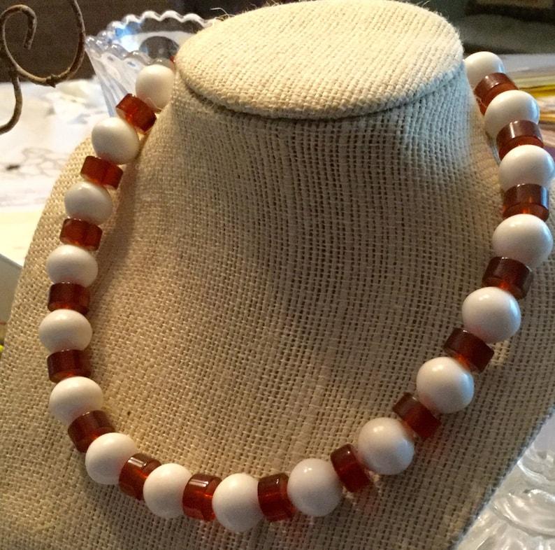 Signed Trifari White Brown Lucite Bead Necklace 1960\u2019s 1970\u2019s