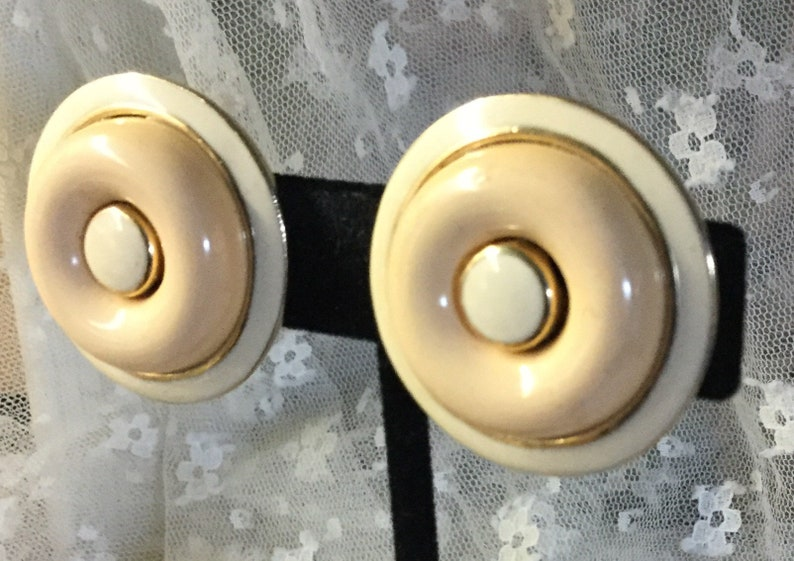Tone On Tone White Enamel Button Domed Earrings Unsigned Clip On