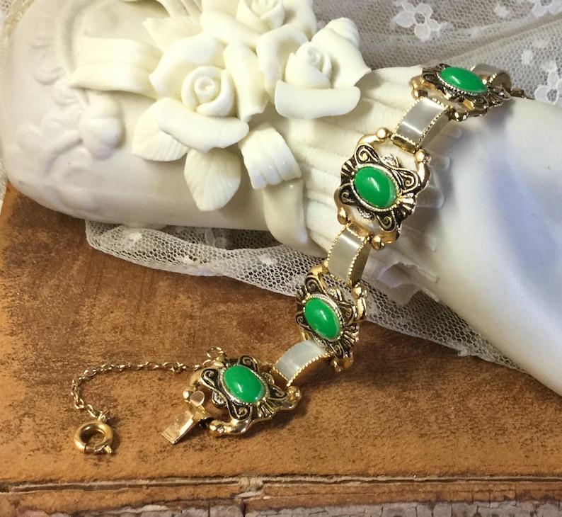 Bright Green Faux Damascene Lucite Link Bracelet Unsigned