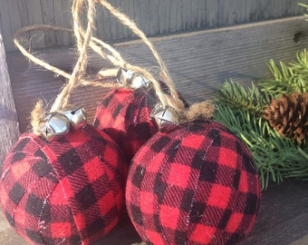 buffalo plaid christmas ornament rustic holiday decor cabin decor tree decoration rustic christmas farmhouse christmas plaid check