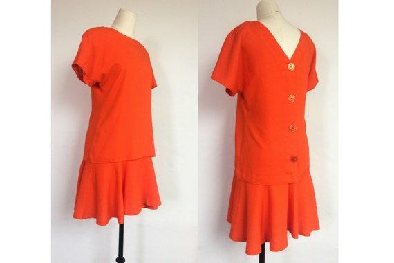 90s linen drop waist dress / button back dress / v