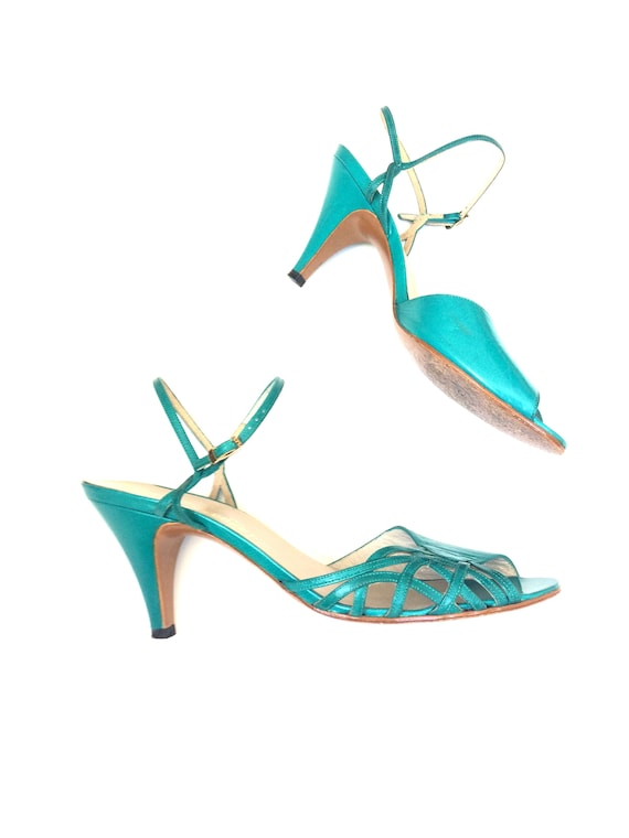 70s pappagallo heels / teal / strappy / delicate /